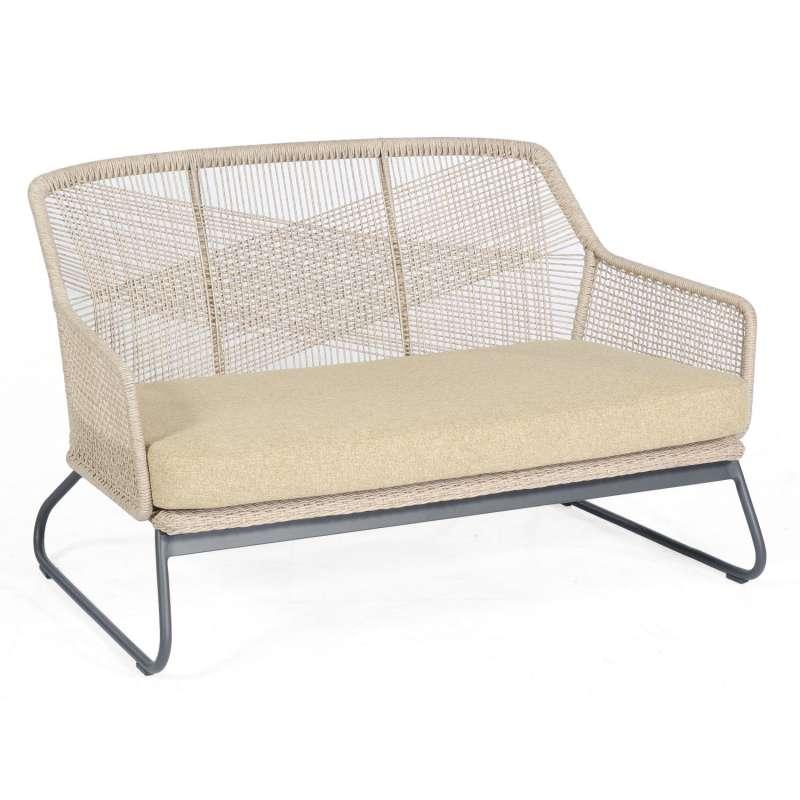 Sonnenpartner Loungesofa Couture Aluminium mit Polyrope white-shell Relaxsofa Garten-Sofa