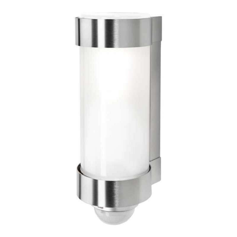 Heibi Wandleuchte MIDUX mit Bewegungsmelder Edelstahl/Opalglas 10x12,5x28 cm E27 Außenleuchte