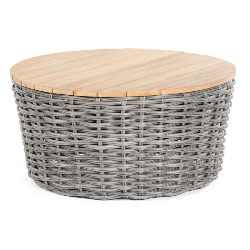 Sonnenpartner Loungetisch Sands Ø 91 cm Aluminium/Teakholz mit Polyrattan charcoal Lounge-Tisch