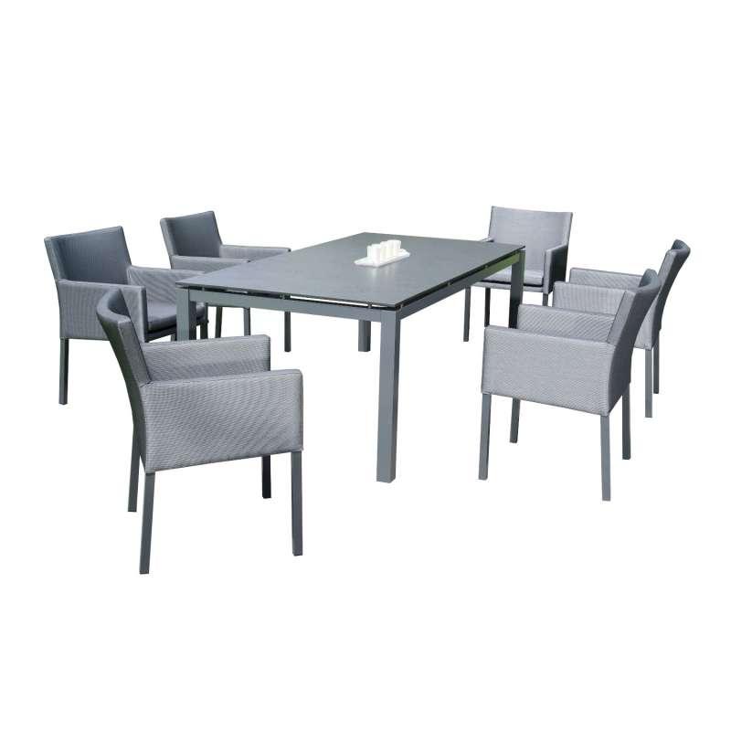 Sonnenpartner 7-teilige Sitzgruppe Coast & Base 200x100 cm mit 6 Sesseln Aluminium anthrazit