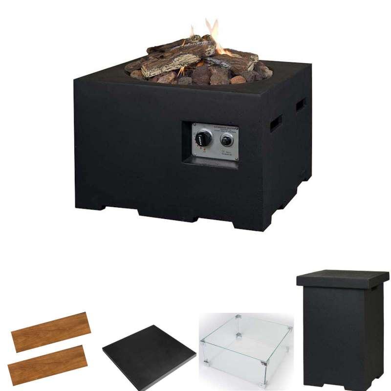 Happy Cocooning Mania Feuertisch Komplettset 12 kW quadratisch klein 60x60x40 cm Beton-Optik schwarz