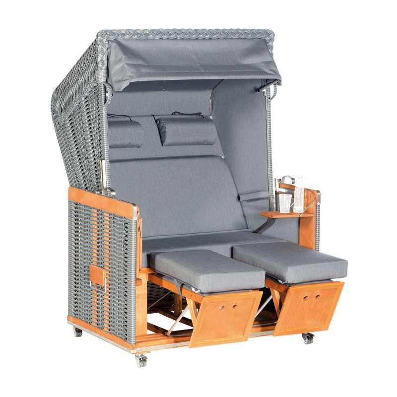 Sonnenpartner Strandkorb Konsul 2-Sitzer Halbliegemodell onix/charcoal mit Sonderausstattung