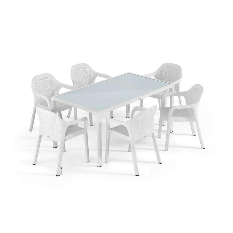 Lechuza 7-teilige Sitzgruppe Flechtstruktur weiß Gartentisch Glasplatte 160x90 cm 6 Stapelstühle