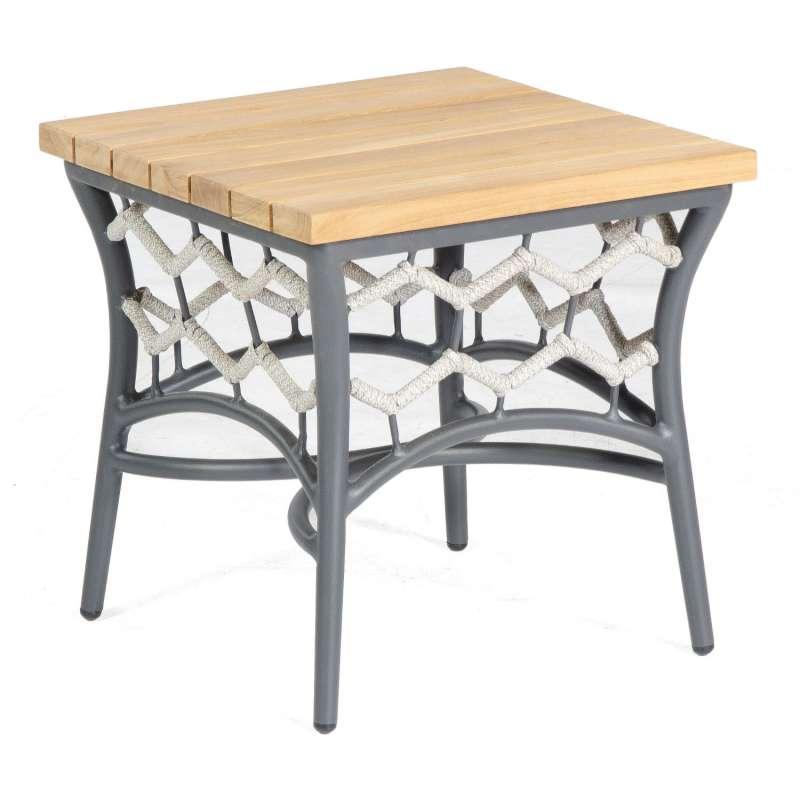 Sonnenpartner Lounge-Tisch Yale 45x45 cm Teak/Aluminium mit Polyrope silbergrau Loungetisch Beistell
