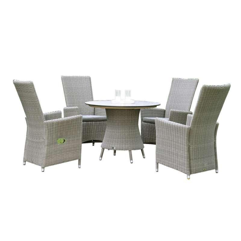 Sonnenpartner 5-teilige Sitzgruppe Solares & Base-Polyrattan Ø 100 cm Polyrattan stone-grey HPL Gart