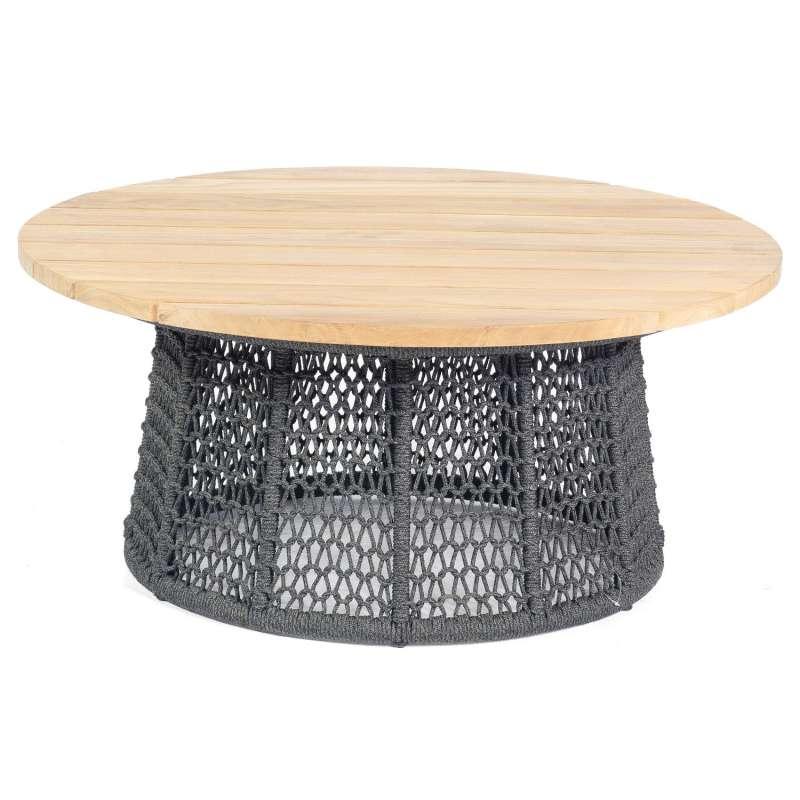 Sonnenpartner Lounge-Tisch Poison Ø 100 cm Teak/Aluminium mit Polyrope dunkelgrau Loungetisch Beiste
