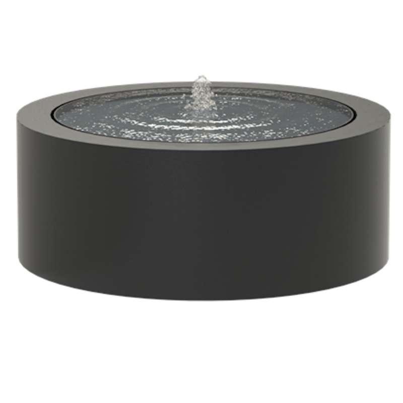 Adezz Wassertisch rund Aluminium schwarzgrau Wasserspiel mit Pumpe & LED verschiedene Größen