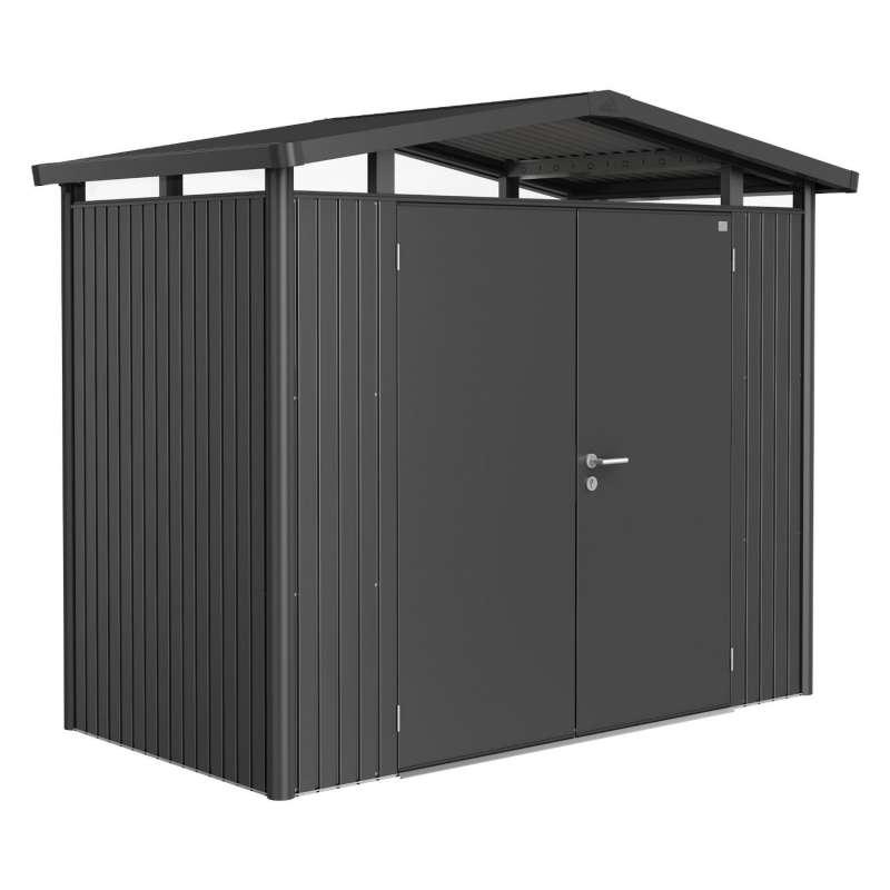 Biohort Gartenhaus Panorama® mit Doppeltür dunkelgrau-metallic 5 verschiedenen Größen Gerätehaus