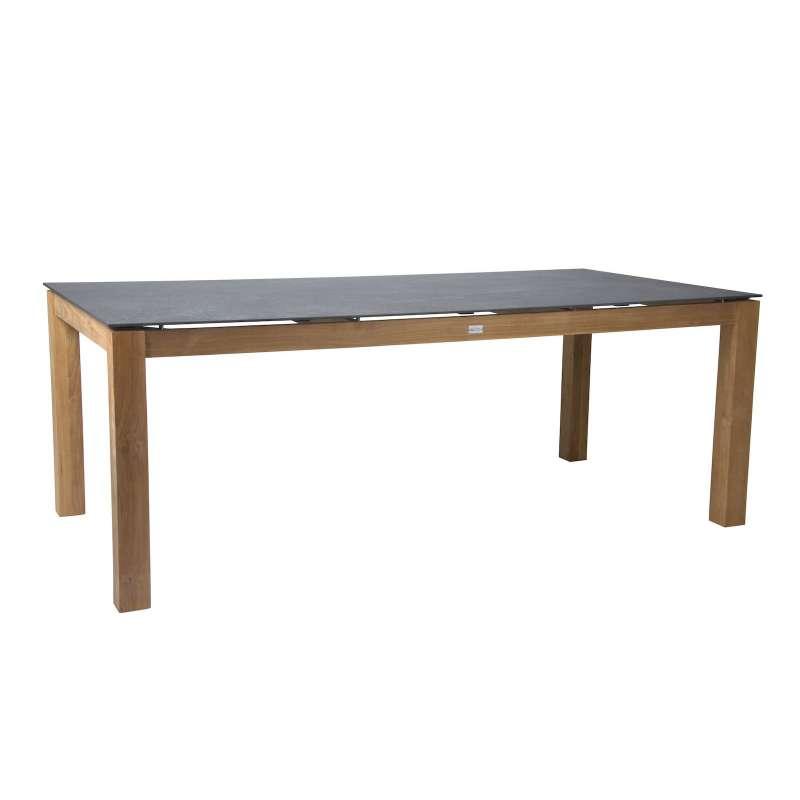 Stern Teakholztisch 200x100 cm Teak/Dekton Lava anthrazit Gartentisch Tisch