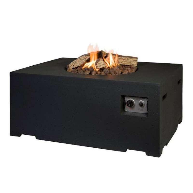 Happy Cocooning Mania Feuertisch 19,5 kW rechteckig groß 107x80x46 cm Beton-Optik schwarz