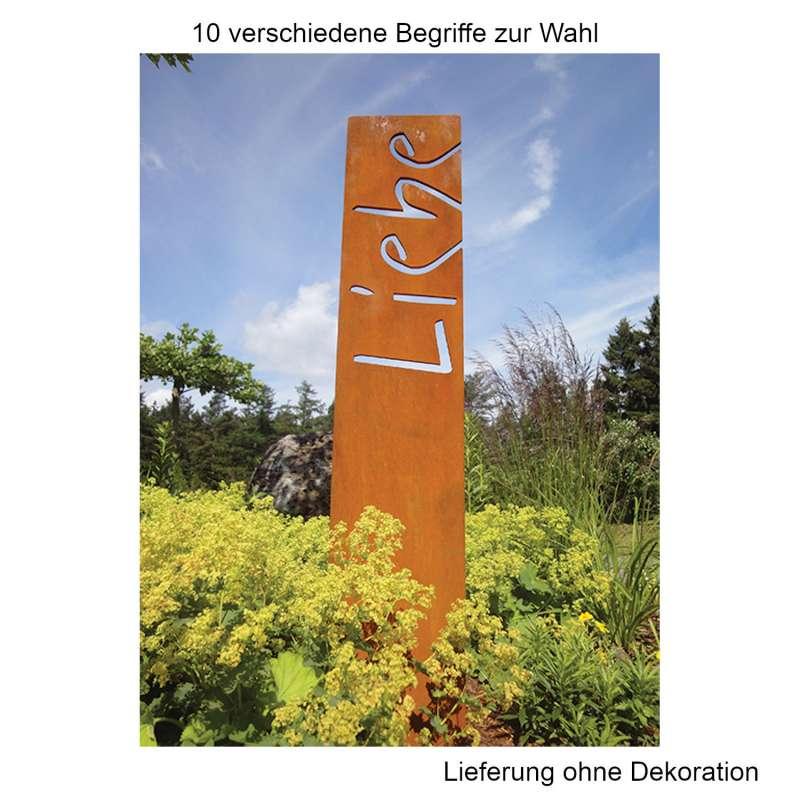 Mecondo OSAS Denkstele Freude Liebe Ruhe 100 cm Cortenstahl Gartendekoration Begriff nach Wahl