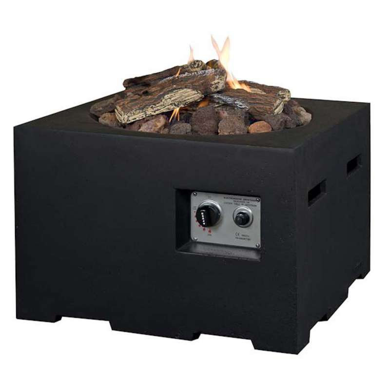 Happy Cocooning Mania Feuertisch 12 kW quadratisch klein 60x60x40 cm Beton-Optik schwarz