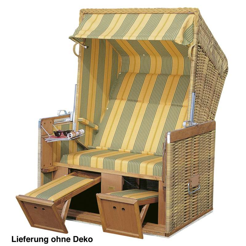 Sonnenpartner Strandkorb Konsul 2 Sitzer Halbliegemodell seegras gelb