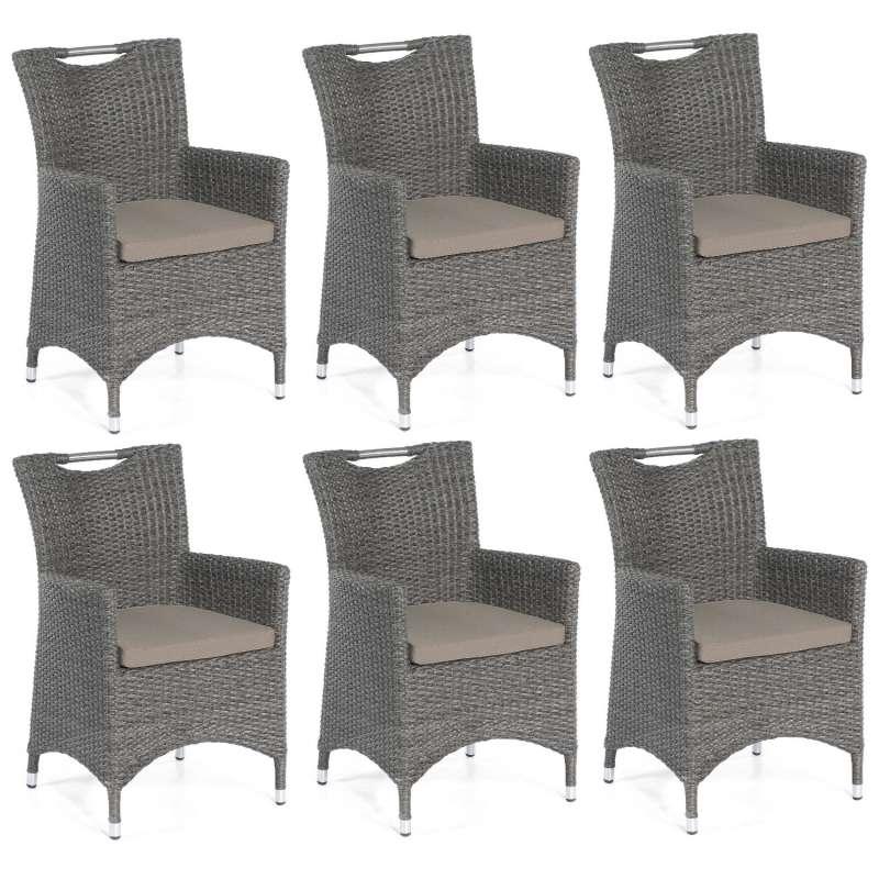 SunnySmart 6er Set Garten-Sessel Cardinal Aluminium mit Kunststoffgeflecht vintage-grau Gartenstuhl