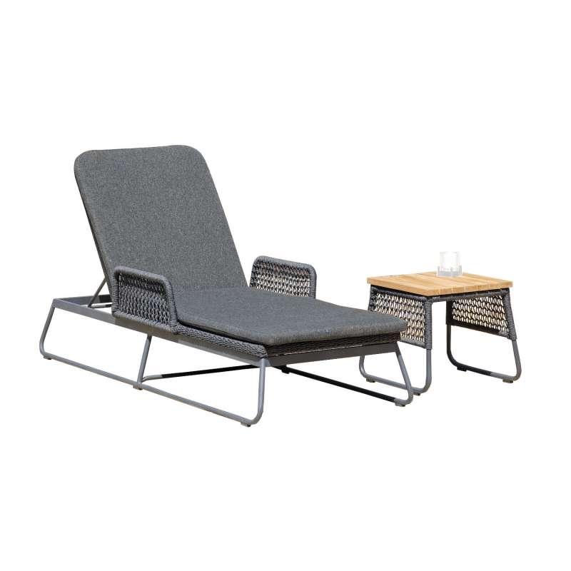 Sonnenpartner Lounge-Liege Poison mit Beistelltisch Teak/Aluminium mit Polyrope dunkelgrau mit Aufla