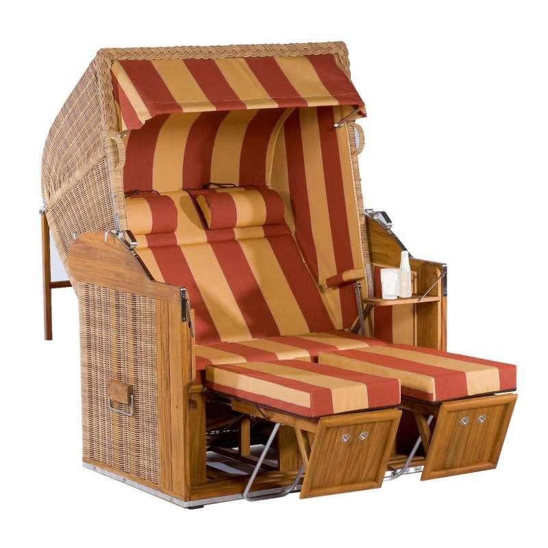Sonnenpartner Strandkorb Classic Teak 2-Sitzer Liegemodell rattanoptik/orange mit Sonderausstattung