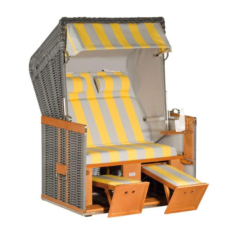 Sonnenpartner Strandkorb Konsul 2-Sitzer Halbliegemodell onix/hellgrau/gelb mit 2 Nackenrollen