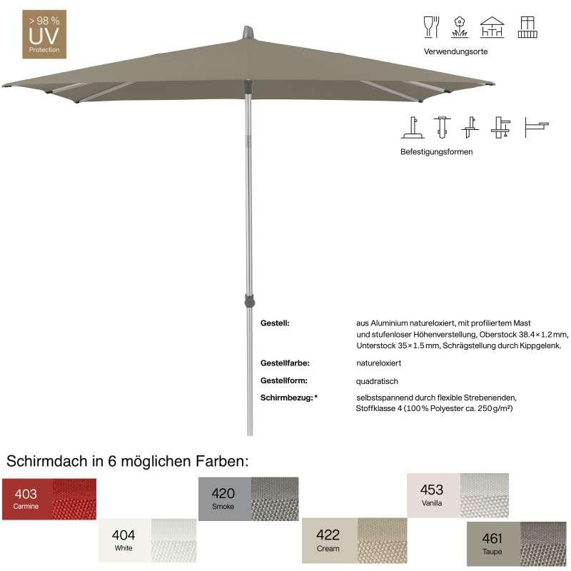 GLATZ Sonnenschirm ALU-SMART quadratisch 240 x 240 cm in 6 Farben Stoffklasse 4 Mittelmast