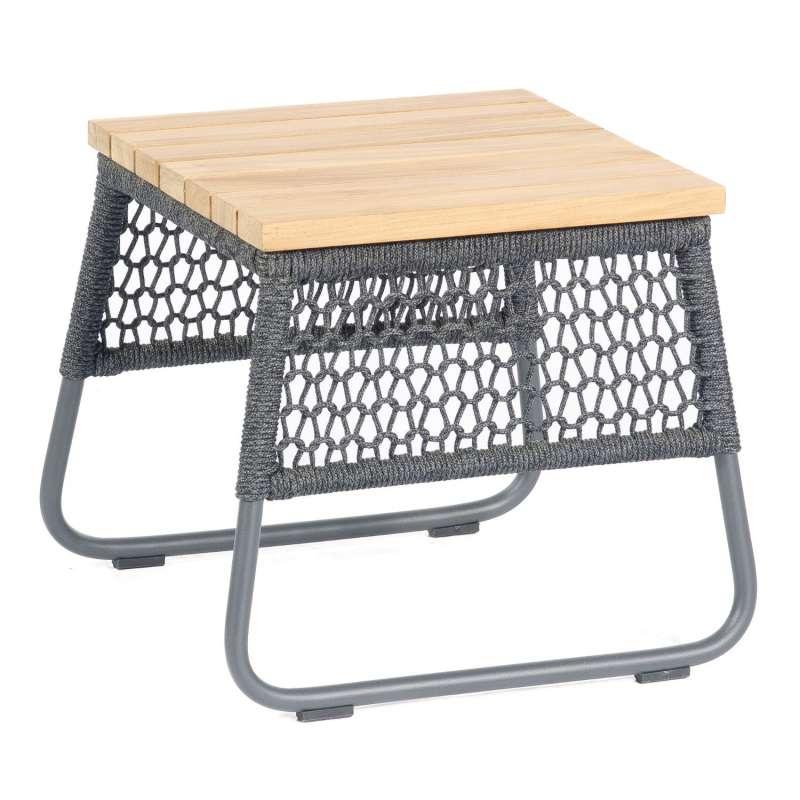Sonnenpartner Lounge-Tisch Poison 45x45 cm Teak/Aluminium mit Polyrope dunkelgrau Loungetisch Beiste