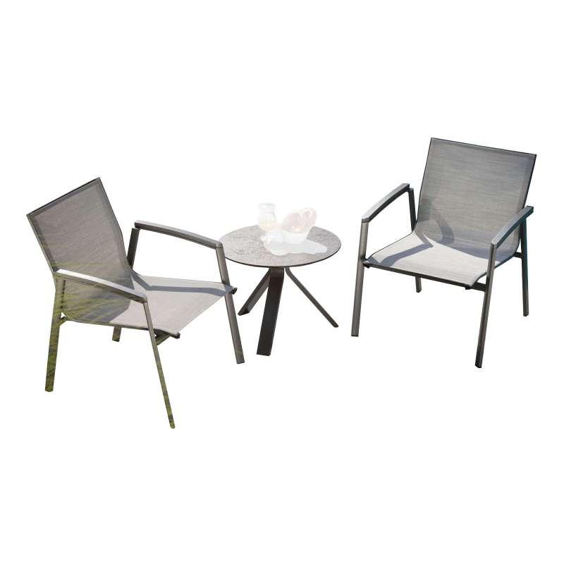 Stern 3-teilige Lounge-Sitzgruppe New Top/Freddie Aluminium anthrazit/Textilen silber Tisch Ø 55 cm
