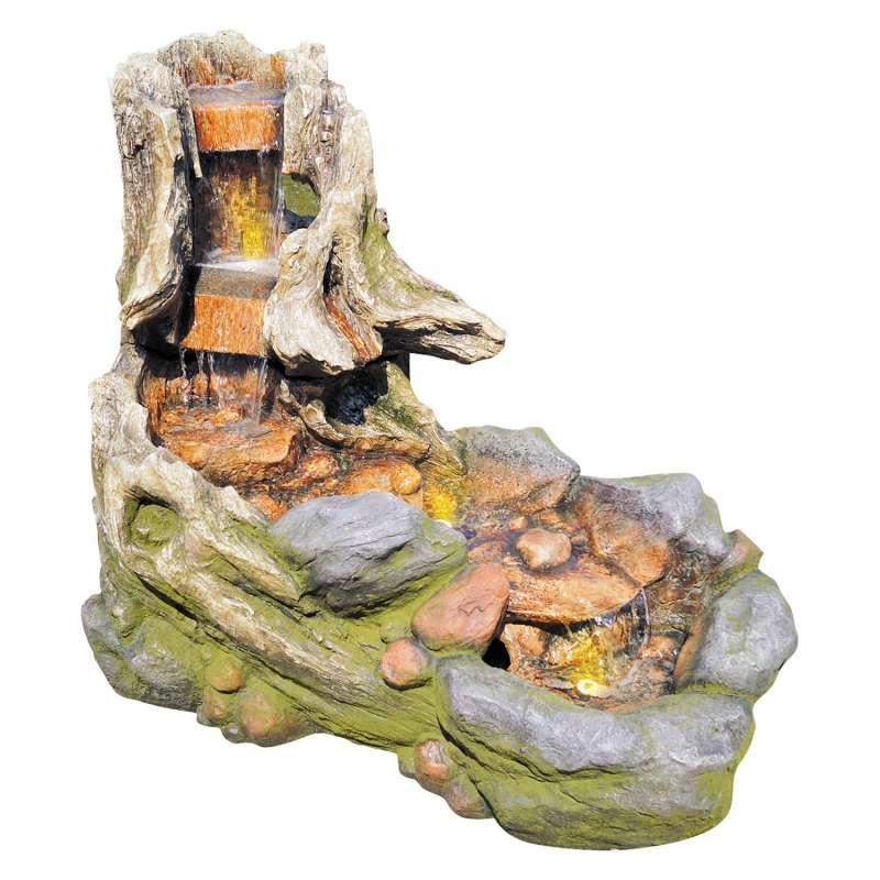 Granimex Dong Polystone Bachlauf mit Wasserfall 2-teilig mit Pumpe und LED Springbrunnen Gartenbrunn