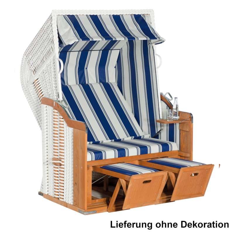 SunnySmart Garten-Strandkorb Rustikal 250 BASIC 2-Sitzer weiß/blau PVC-Stoff