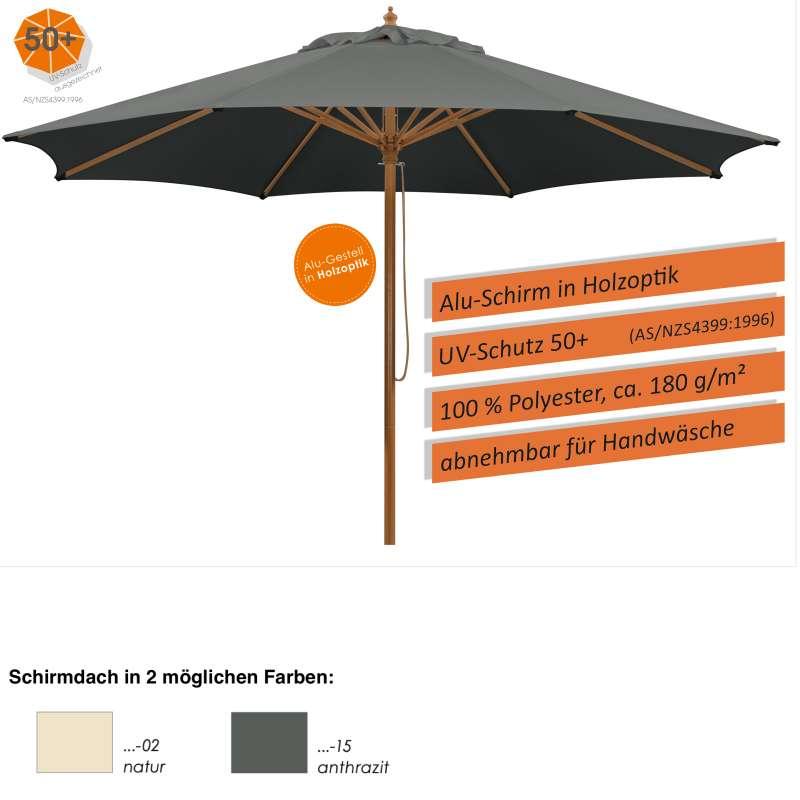 Schneider Schirme Malaga Mittelmastschirm 300 cm rund 2 Farbvarianten Sonnenschirm Gartenschirm