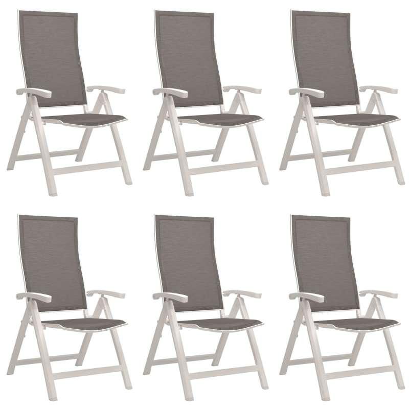 Stern 6er-Set Klappsessel Kari Aluminium weiß/Textilen silber Gartenstuhl Hochlehner