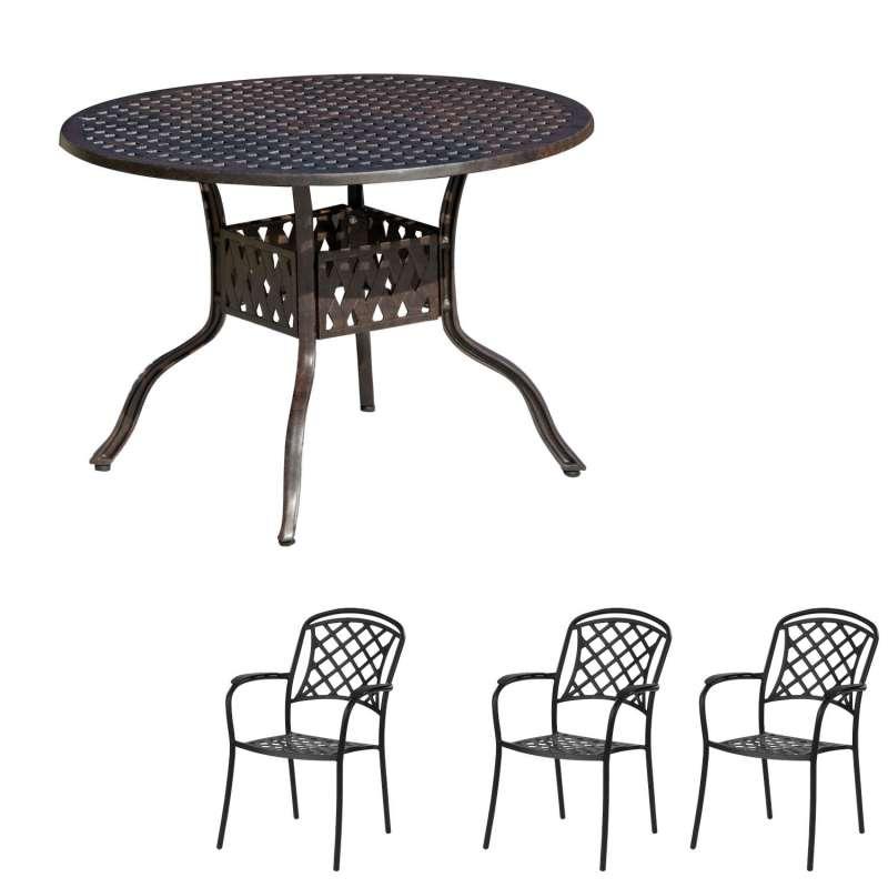 Inko Tisch-Set 1 Tisch 106x74cm rund 3 Sessel Aluminium Guss bronze Variante wählbar