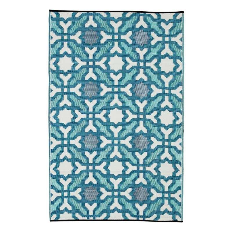 Fab Hab Outdoorteppich Seville Multicolor aus recyceltem Plastik blau 150x240 cm