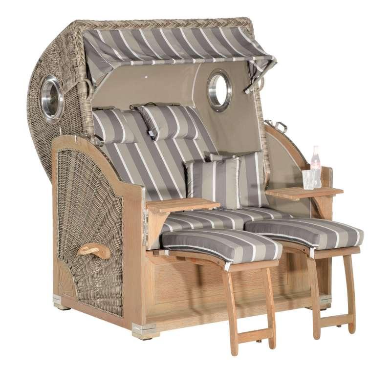 SunnySmart Garten-Strandkorb Rustikal 500 PLUS COMFORT 3/4-Liegemodell 2-Sitzer XL basalt-grau/rusti