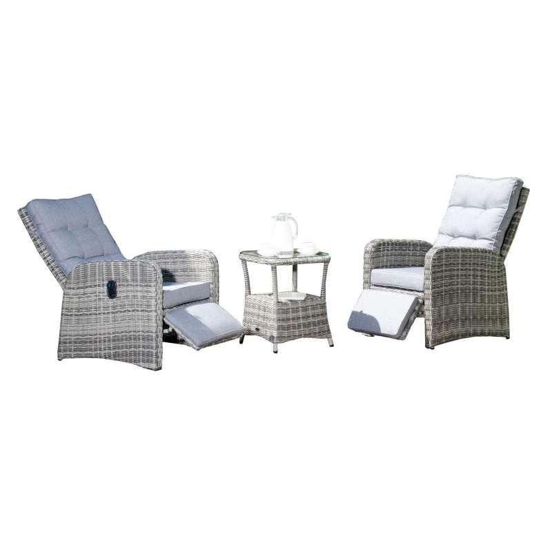 SunnySmart 3-teilige Garten-Relax-Sitzgruppe Allianz Aluminium mit Kunststoffgeflecht vintage-taupe