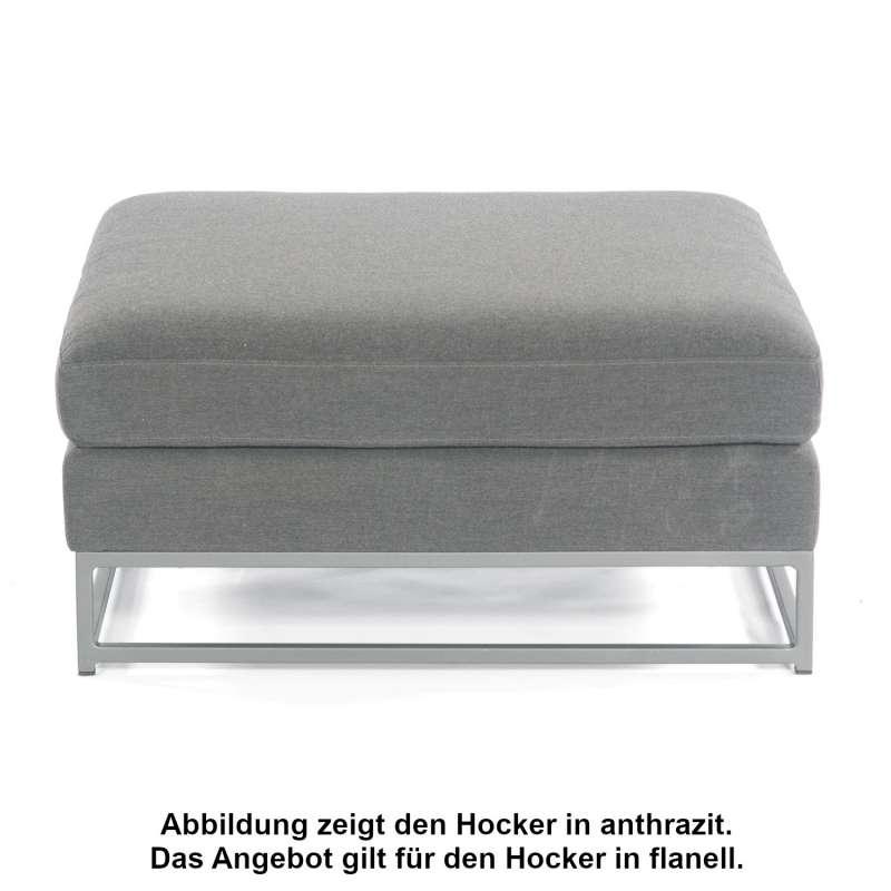 Sonnenpartner Lounge-Hocker Unique Aluminium mit Kissen flanell Loungesessel Sunbrella