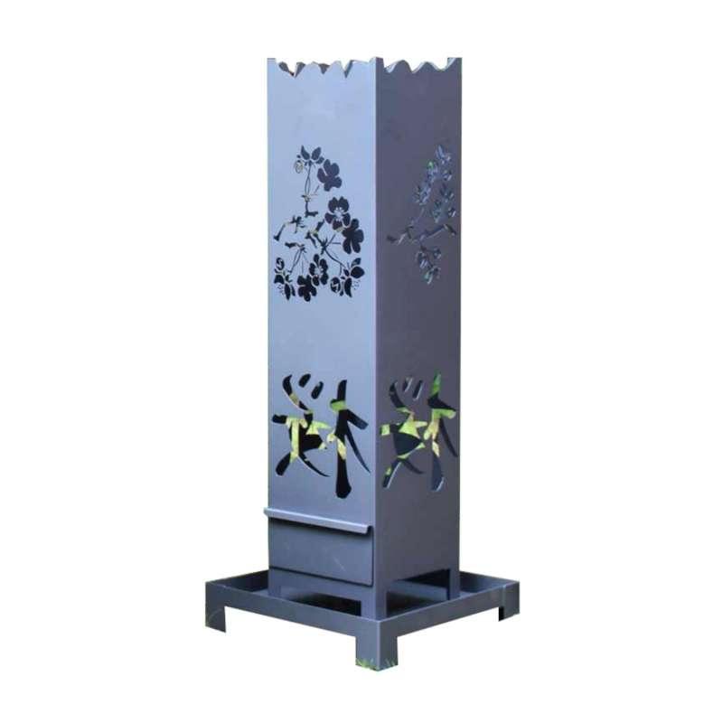 Heibi Feuersäule Motiv Japan/Kirschblüte Stahlblech 40x40x107 cm metallgrau Gartenfackel