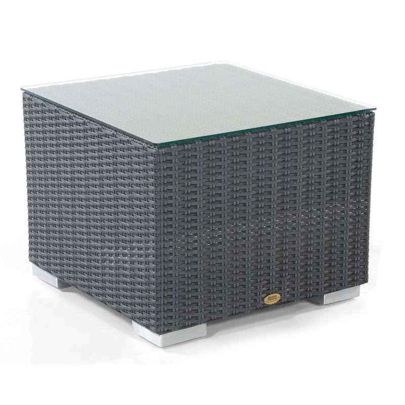 Sonnenpartner Lounge-Tisch Residence 60x60 cm Alu/Polyrattan graphit-schwarz mit Glas
