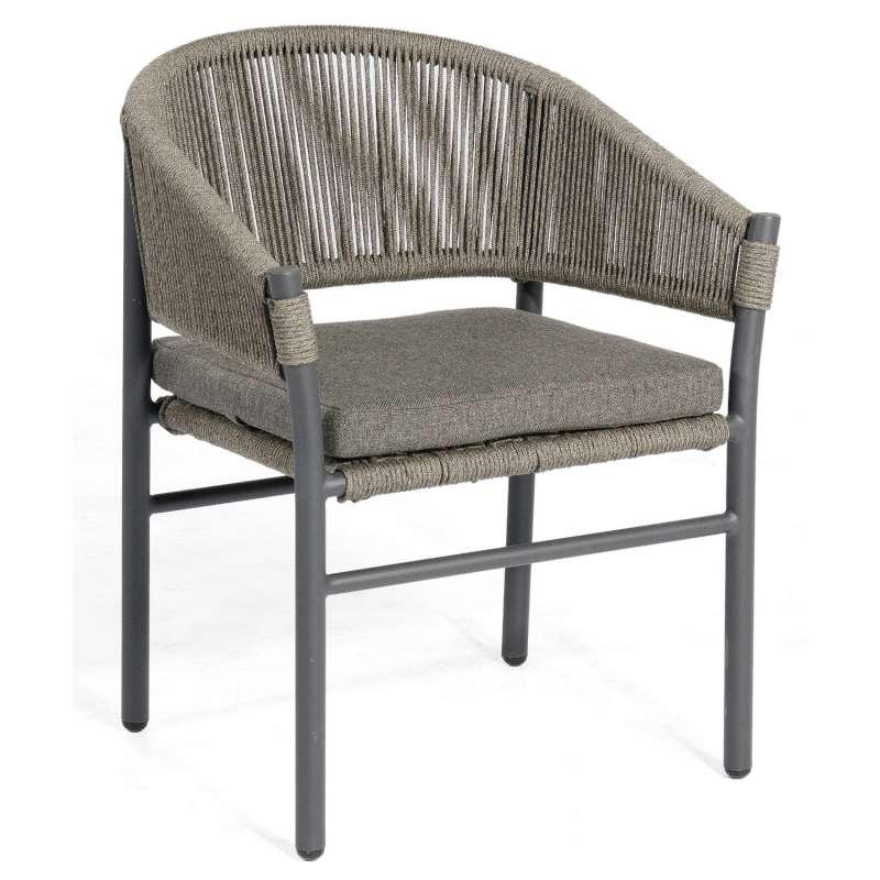 Sonnenpartner Gartensessel Mystique Aluminium mit Polyrope dunkelgrau Gartenstuhl Sessel