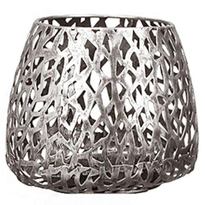Casablanca Windlicht Purley klein Metall silberfarben Ø 14 cm