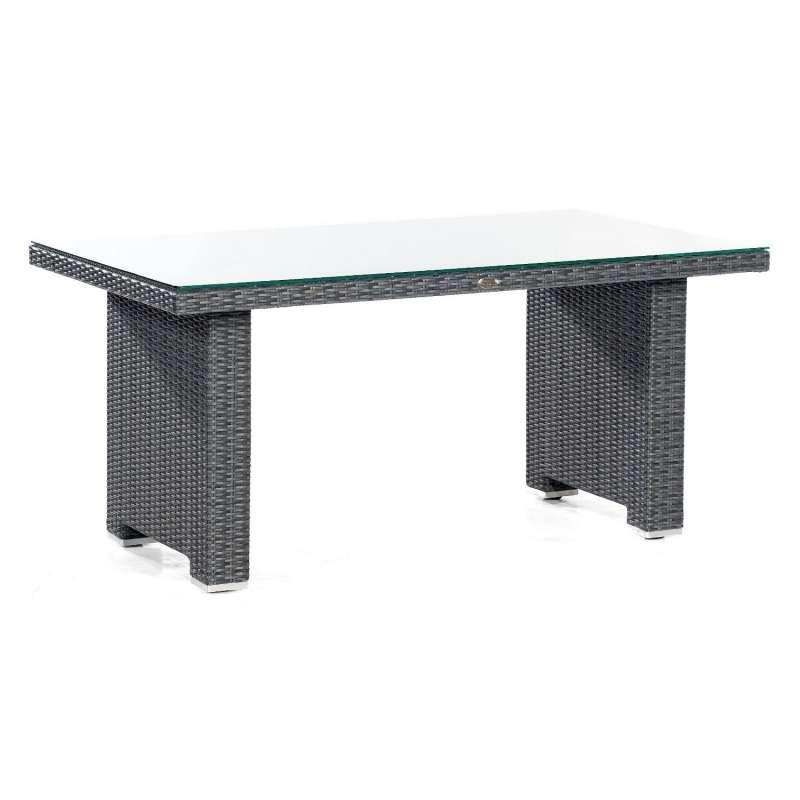 Sonnenpartner Dining-Tisch Residence 140x80 cm Aluminium mit Polyrattan graphit-schwarz mit Glas Lou