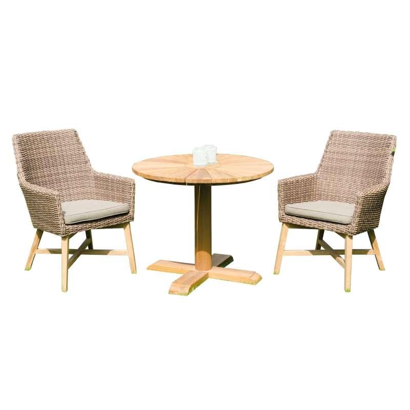 Sonnenpartner 3-teilige Sitzgruppe Helios & Solis Ø 90 cm Aluminium/Teakholz mit Polyrattan rustic-s