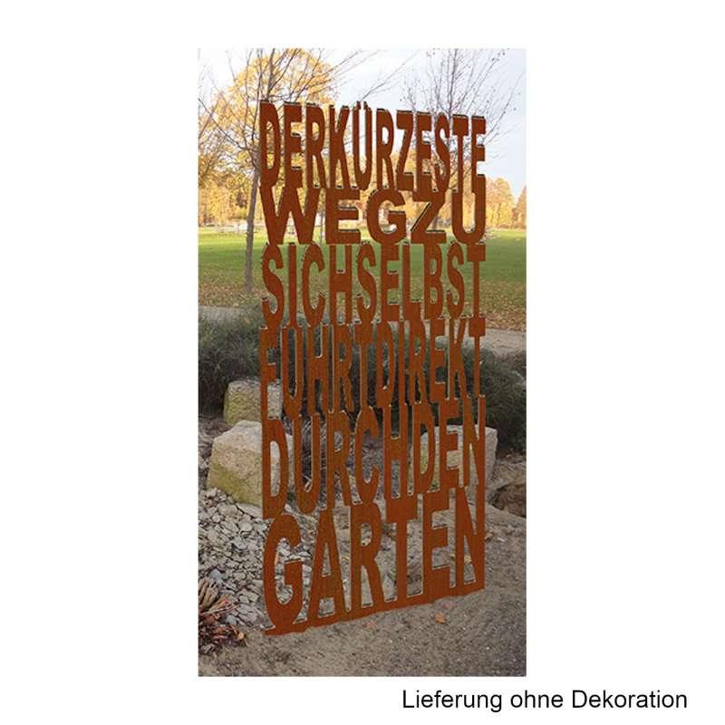 Mecondo TEXTURA Stele 'Der kürzeste Weg zu sich selbst' 100x230 cm Corten/Edelstahl Gartendekoration