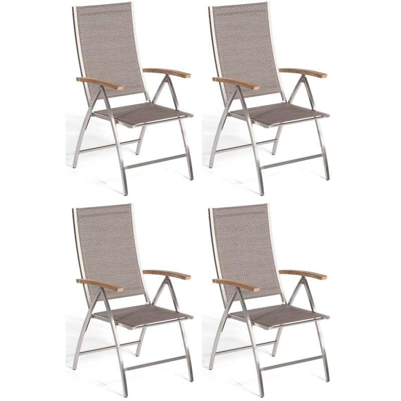 Sonnenpartner 4er-Set Klappsessel Paragon Edelstahl mit Textilen taupe Klapp-Sessel Klappstuhl