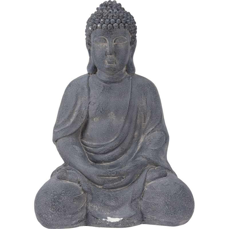 XXL Buddha Feng Shui 50 cm Skulptur steingrau Dekofigur Buddhastatue sitzend Zierfigur
