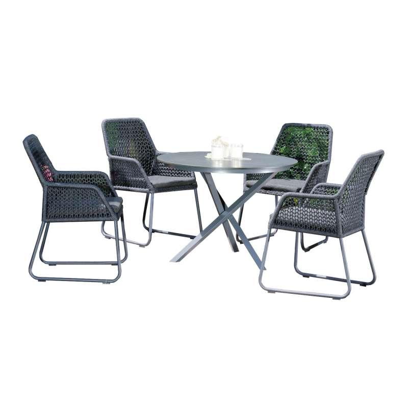 Sonnenpartner 5-teilige Sitzgruppe Fairmont & Base-Spectra Ø 100 cm Aluminium mit Polyrope schwarzgr