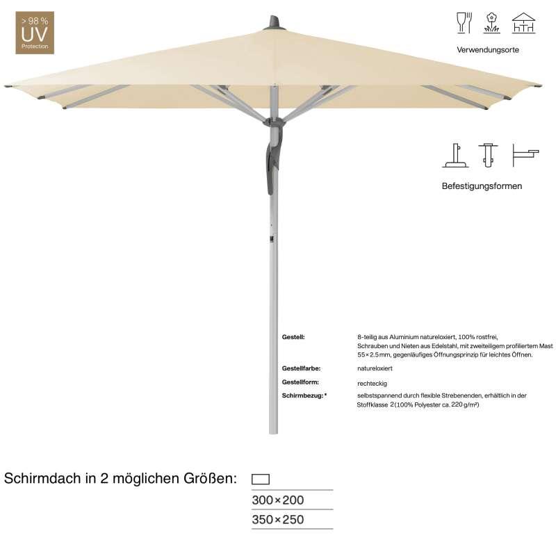 GLATZ Sonnenschirm FORTERO® easy rechteckig 300 x 200 / 350 x 250 cm Stoffklasse 2 Eggshell 150 Mitt
