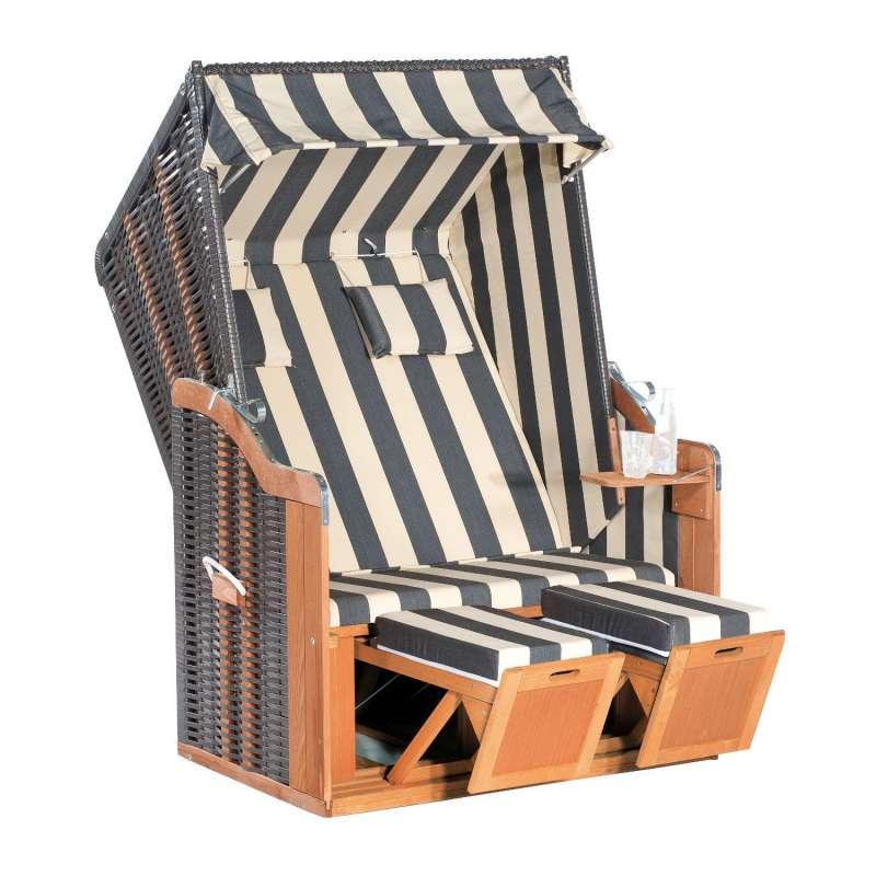 SunnySmart Garten-Strandkorb Rustikal 50 PLUS 2-Sitzer anthrazit/beige mit Kissen