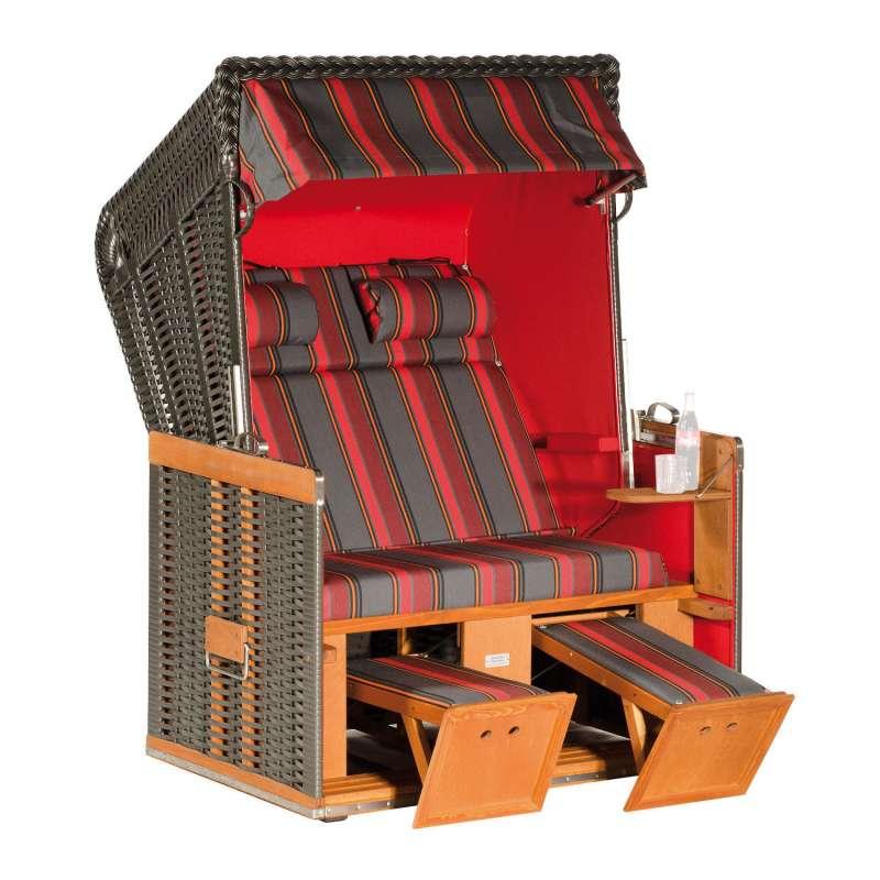 Sonnenpartner Strandkorb Konsul 2-Sitzer Halbliegemodell anthrazit/rot mit Sonderausstattung