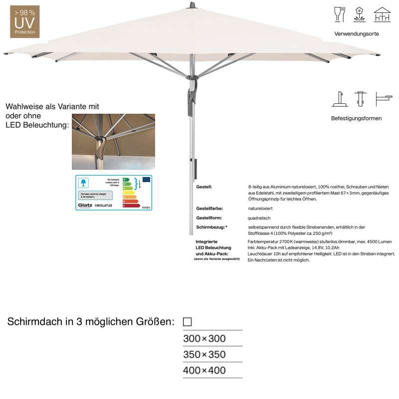 GLATZ Sonnenschirm FORTELLO® / LED 300 x 300 / 350 x 350 / 400 x 400 cm Vanilla 453 Mittelmastschirm
