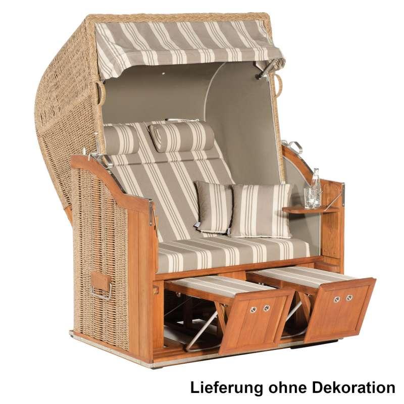 Sonnenpartner Strandkorb Classic Teak 2-Sitzer Halbliegemodell hyazinth/florenz/taupe mit Kissen