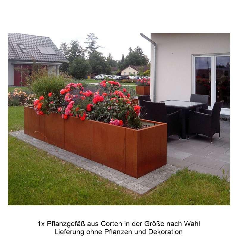 Mecondo Pflanzgefäß CONTURA Cortenstahl Blumenkübel mit Bewässerungssystem verschiedene Größen