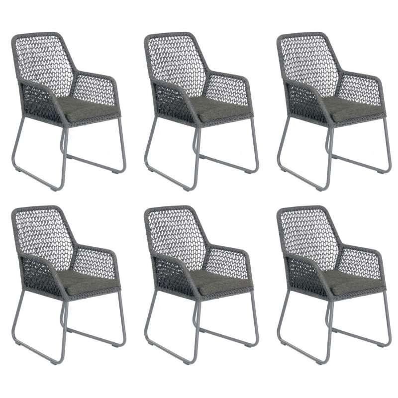 Sonnenpartner 6er-Set Gartensessel Poison Aluminium mit Polyrope dunkelgrau Gartenstuhl Sessel